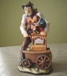 Wooden Sculpture of a Street-Organ Grinder